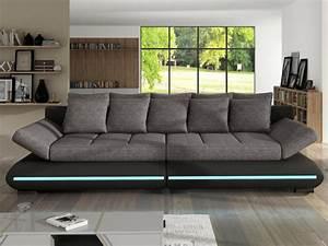 Canapé 4 Places : canap 4 places convertible leds noir gris mattias ~ Teatrodelosmanantiales.com Idées de Décoration