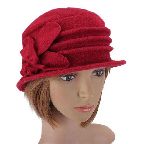 women lady floral bow wool bucket hat foldable cloche