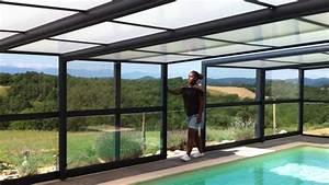 Abri piscine adosse veranda telescopique pour piscine for Prix veranda piscine couverte