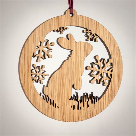 rabbit christmas wood ornament woodland animal
