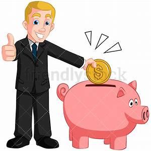 Businessman Saving Money In Piggy Bank Vector Cartoon ...