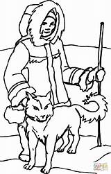 Coloring Eskimo Printable Dog Inuit Dogs Crafts Animals จาก นท Supercoloring sketch template