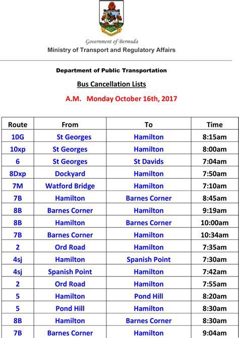 ministry  bus runs cancelled  monday bernews