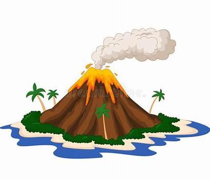 Cartoon Island Volcanic Illustration