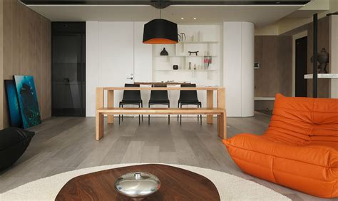 Taiwanese Apartment With Simple Layout And Punchy Palette by Orange Black Lightshade Interior Design Ideas