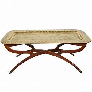 Brass Tray Mid-Century Rectangular Coffee Table at 1stdibs