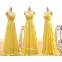 Long A line e Shoulder Sweetheart Yellow Bridesmaid