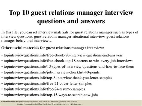 Questions For Production Manager And Answers by Top 10 Guest Relations Manager Questions And Answers