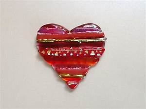 Fused Glass Heart With Dichroic Accents