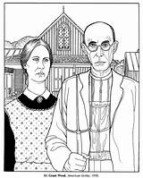 Coloring Fine Adults Google Gothic American Funny Cuadros Famosos Grant Wood Adult Famous Arte Cliparts Parody Dibujos Mona Lisa Worksheets sketch template