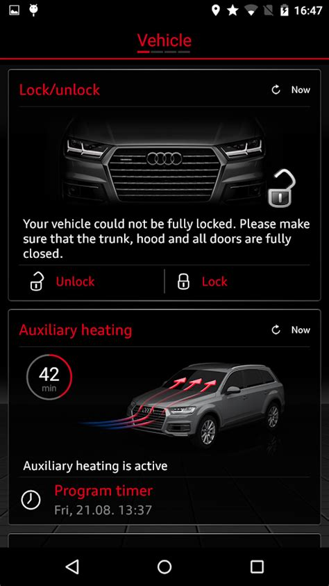updated audi connect app