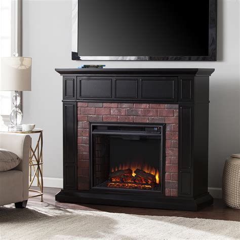 Black Fireplace - 45 50 quot kyledale faux brick electric media fireplace