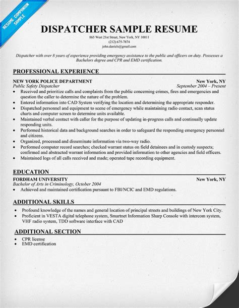 Dispatcher Resume by Resume 911 Dispatcher Position