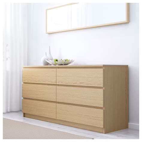 malm chest of 6 drawers white stained oak veneer 160x78 cm