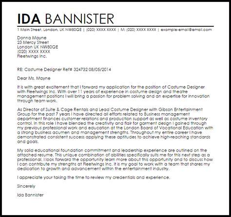 costume designer cover letter sle letter sles