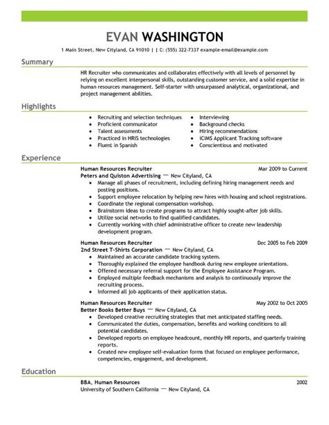 Human Resources Recruiter Resume Template by Pin Talent Management On
