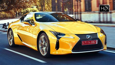 lexus lc  coupe road driving scenes color yellow