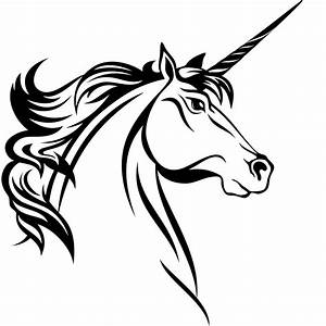 Unicorn Head Clipart Black And White | Letters