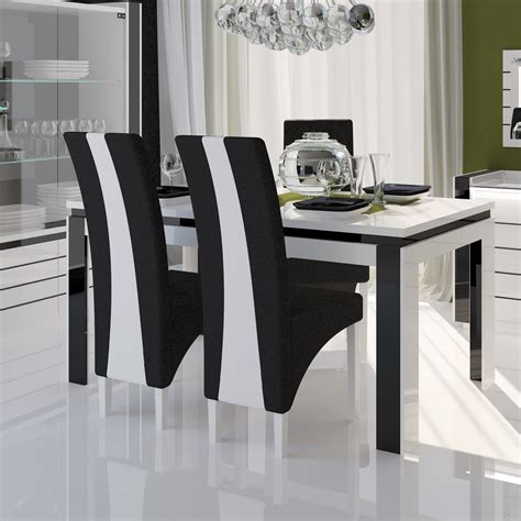 chaise h et h table salle a manger noir et blanc