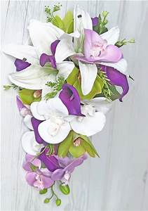 Natural Touch Off White Lilies & Purple Orchids Cascading ...