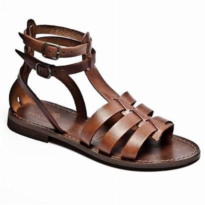 Sandals Gladiator Leather Italian Tan Dark Espadrille