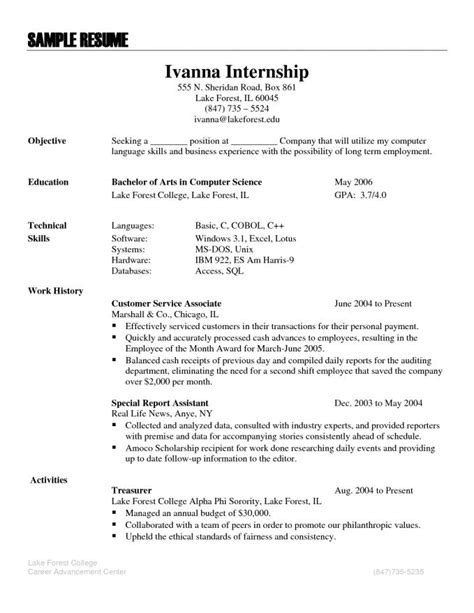 Resume Language by Sle Internship Resume Resume Badak