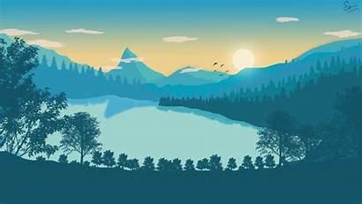 Flat Landscape Wallpapers Lake Illustration Rate