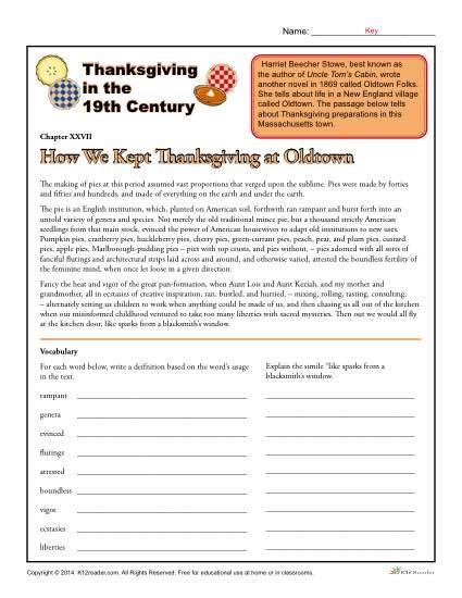 thanksgiving in the 19th century comprehension worksheet