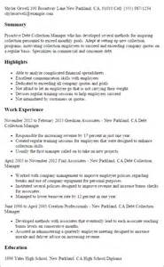 debt collector resume professional debt collection manager templates to showcase your talent myperfectresume