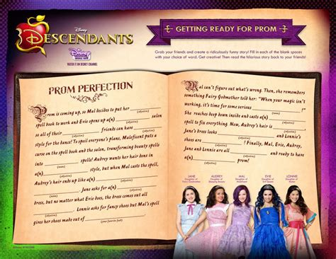 disney descendants activity sheets food crafts  family