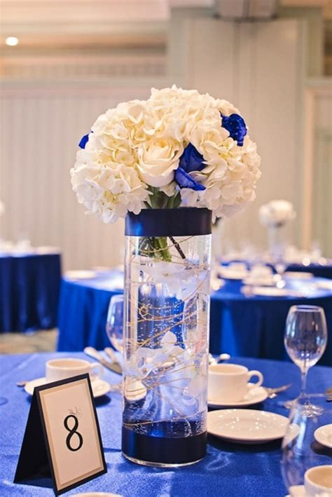 royal blue table decorations royal blue wedding reception centerpiece table