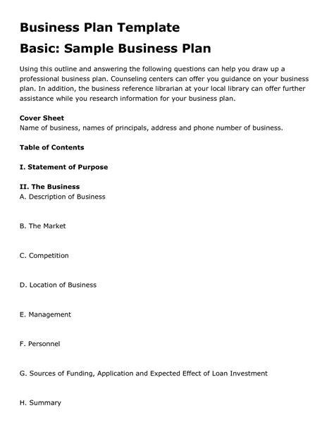 Simple Business Plan Template Free Printable Business Plan Template Form Generic