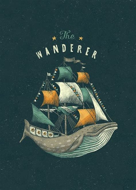 Ship Illustration by The Wanderer Whale Ship Illustration Graphic Design Type