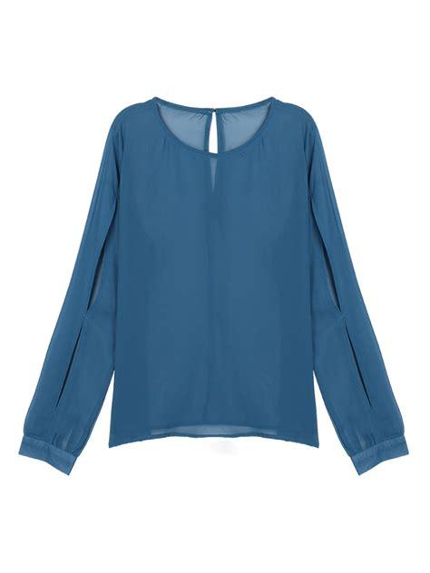 navy blouses navy slit sleeve chiffon blouse choies