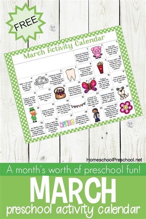 printable march activity calendar  preschoolers