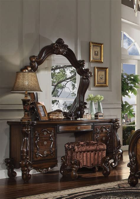 piece acme versailles vanity mirror  stool cherry