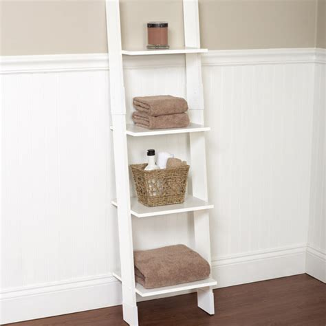 Hawthorne Bathroom Wood Ladder Linen Tower, White