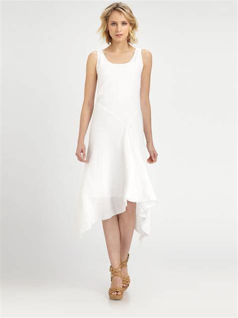 white dresses eileen fisher linen sleeveless dress in white lyst