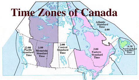 canada map time zones printable