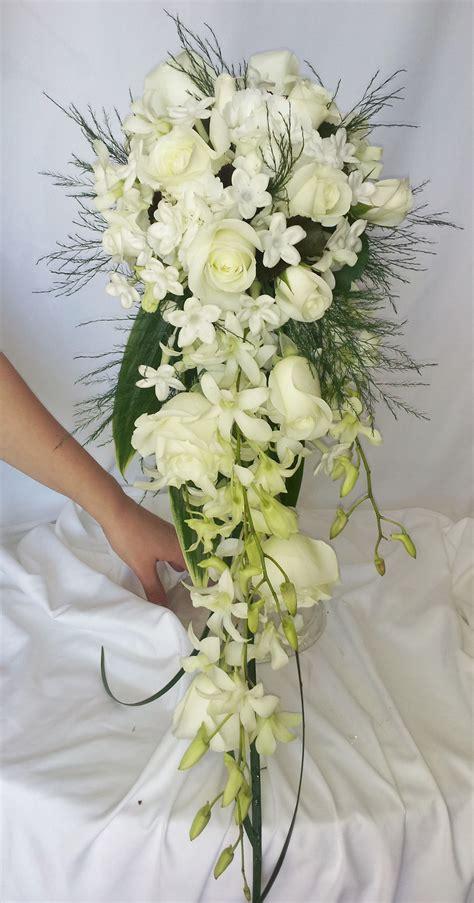 white cascading bridal bouquet flowers wedding