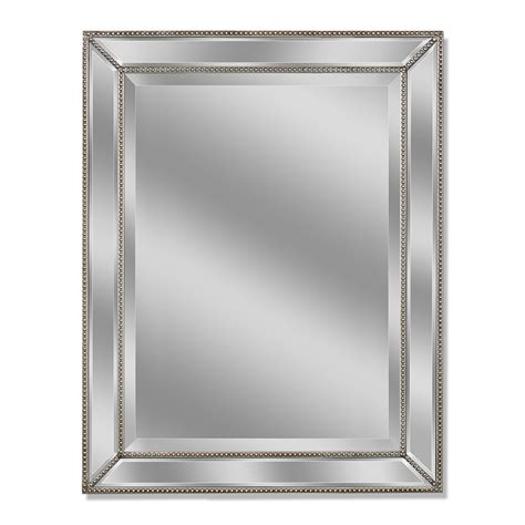 shop allen roth 30 in x 40 in silver beveled rectangle framed wall mirror at lowes com