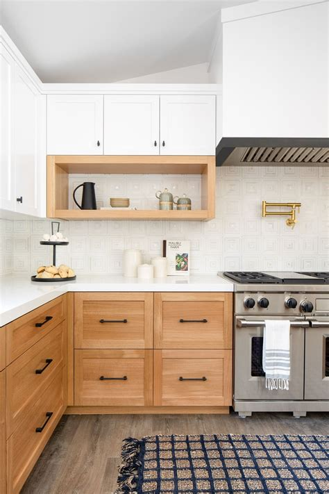 Crafted from hardwood solids and engineered wood with a distressed oak finished top and matching. Cameo Highlands Remodel | Stained kitchen cabinets, White ...