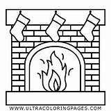 Fireplace Coloring Pages Christmas Chimney Down Ultracoloringpages Template sketch template