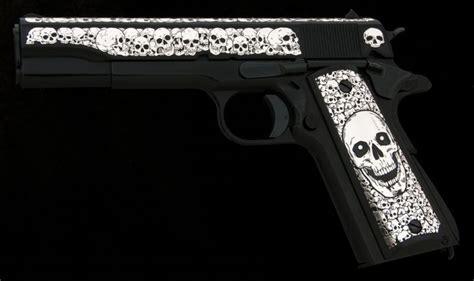 sniper skull auto ordnance   custom steel grips