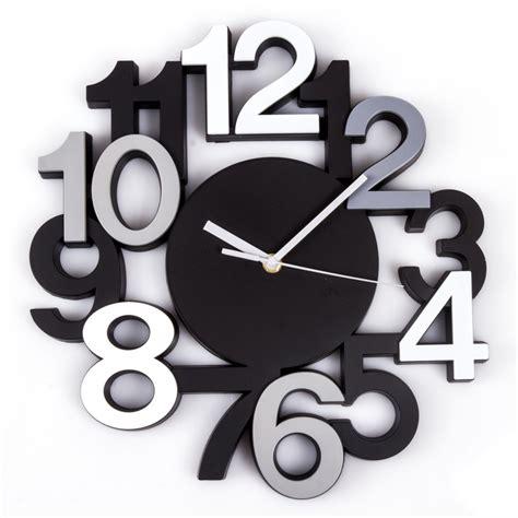 pendule de cuisine design horloge murale silencieuse chiffres 3d noir maison futée
