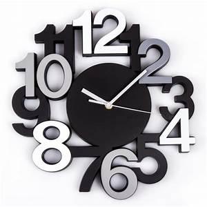 Horloge Murale Silencieuse : horloge murale silencieuse chiffres 3d noir maison fut e ~ Melissatoandfro.com Idées de Décoration