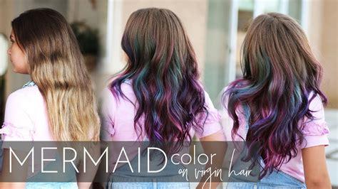 mermaid hair color  virgin hair vivid balayage
