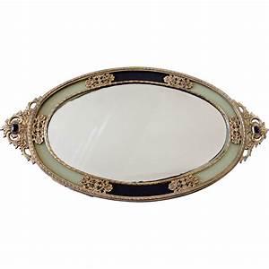 Vintage Ormolu Mirror Vanity Tray, Japan from