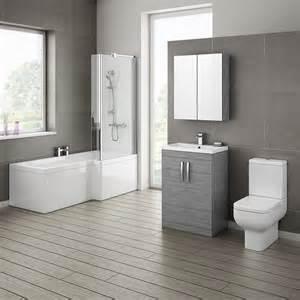 grey avola bathroom suite with l shaped bath now