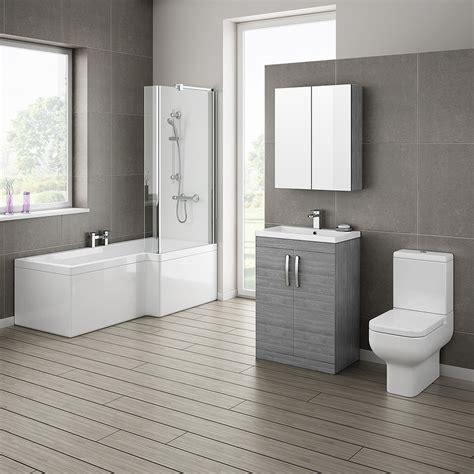 brooklyn grey avola bathroom suite with l shaped bath